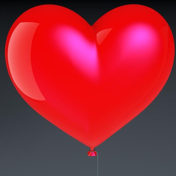 realistic heart shaped balloon 3d model