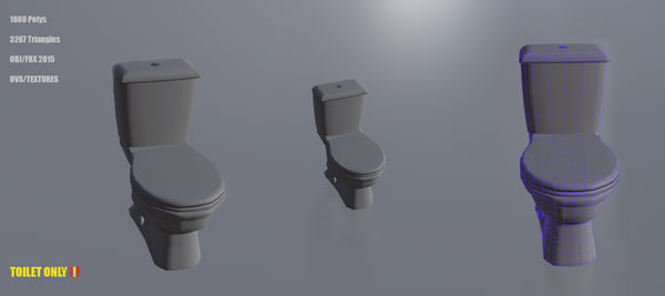 free closed toilet 3d model
