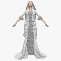 3d wedding dress 011 female model