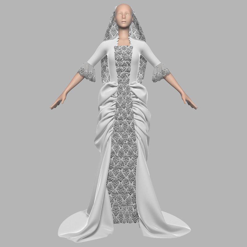 3d wedding dress 011 female model