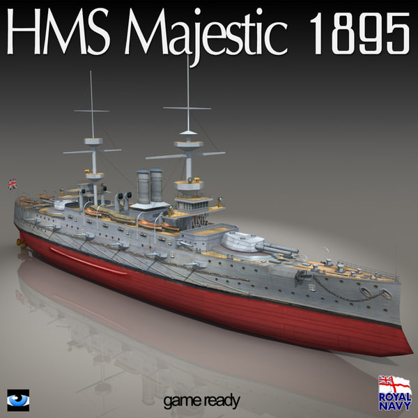 3d model of hms majestic 895 war