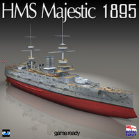 3d model of hms majestic 895 war