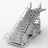 3d airport passenger boarding stairs