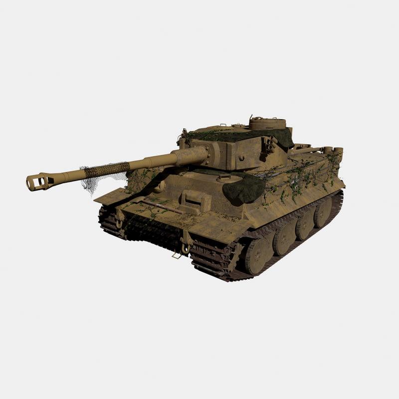 3d model german tiger tank