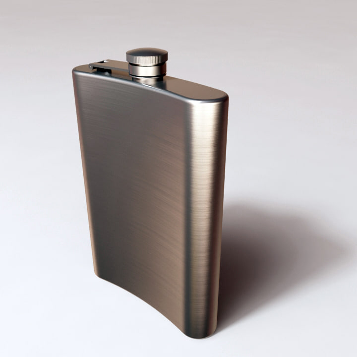 3d model stainless steel hip flask