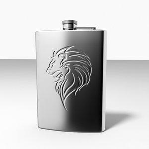 3d model embossed lion hip flask