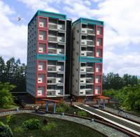 3d model 12-storey building