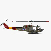 3d model of bell uh-1b iroquois military helicopter