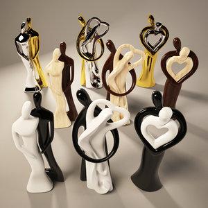 3d model figurines black white