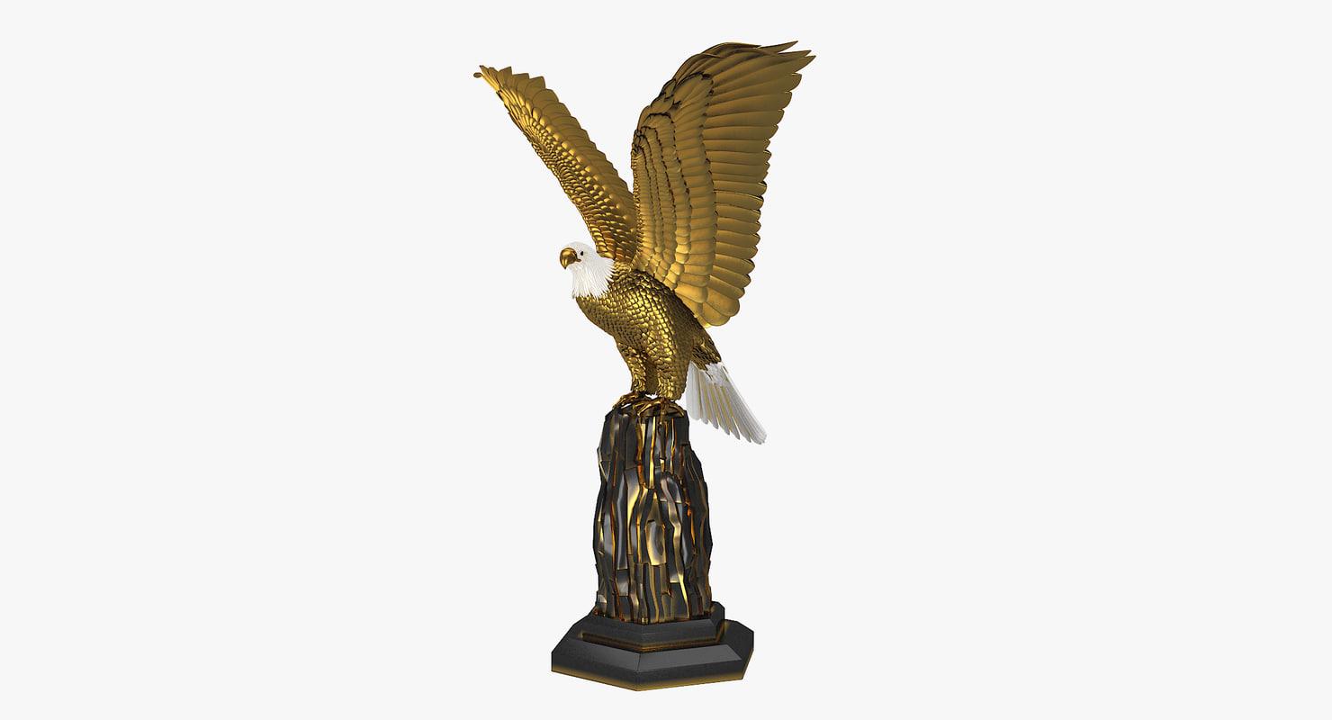 3d model of realistic golden eagle sculpture