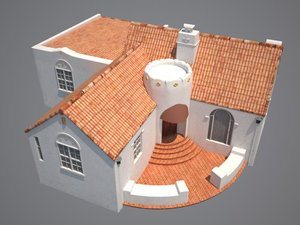 3d spanish colonial house