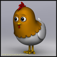 res cartoon chicken 3d model