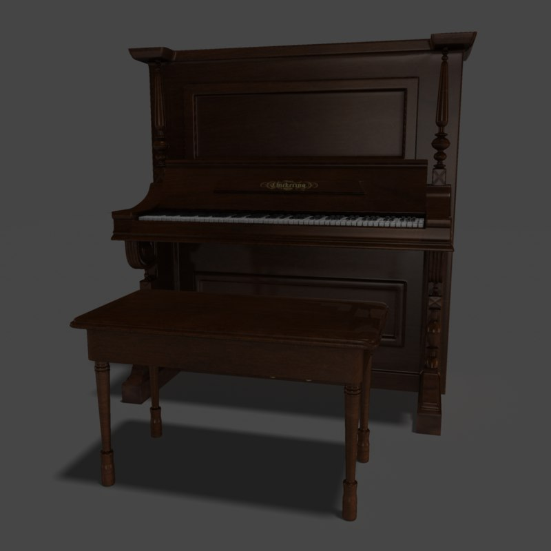 chickering piano 3d model