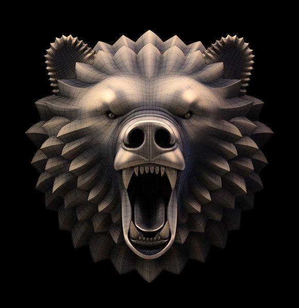3d sculpture head bear