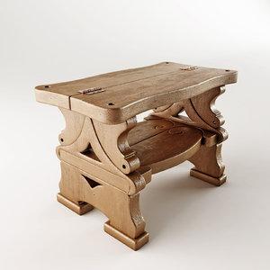 step-ladder bench 3d max