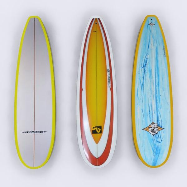 3d model surfboard surf board