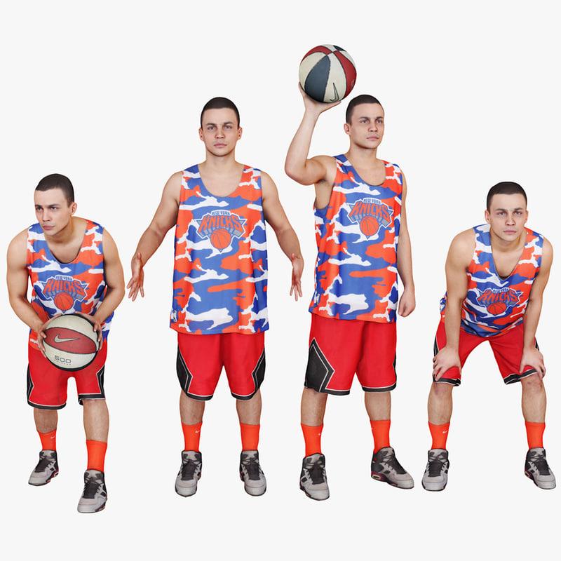 3d model pack basketball player ball