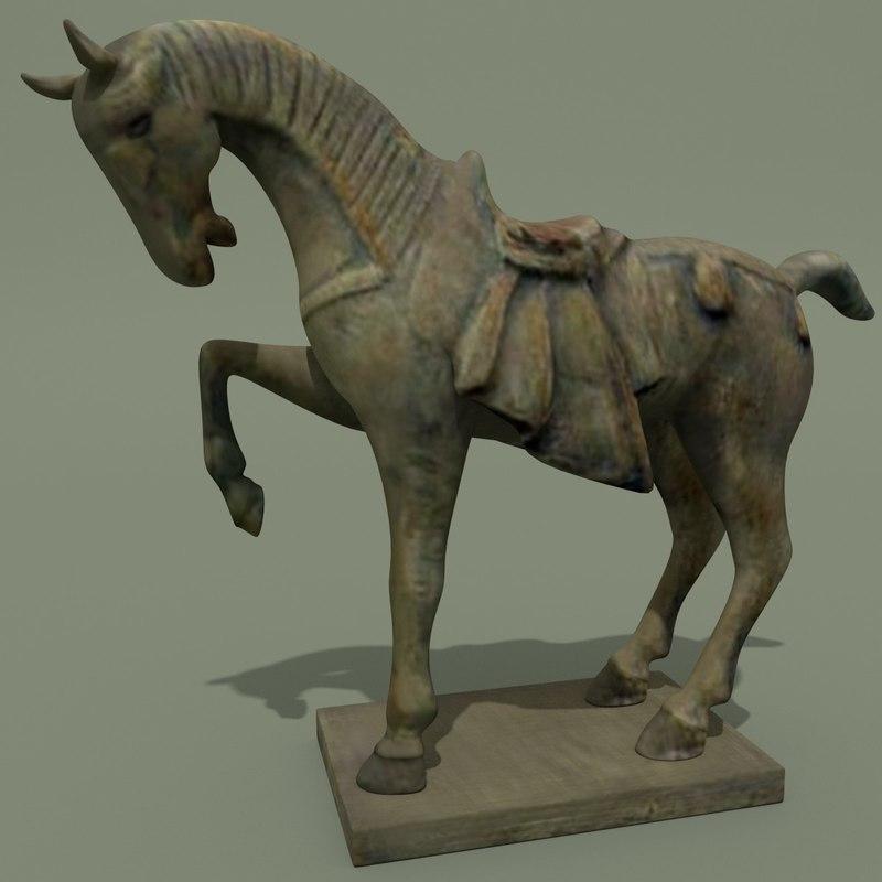 3d horse statuettes model