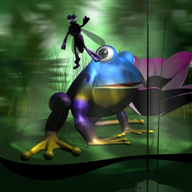 toon frogs mosquito cartoon water 3d max