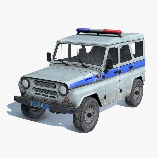 3d russian suv uaz-3151 police model