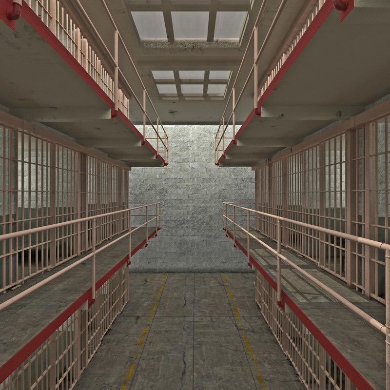 3d model prison cells alcatraz scene