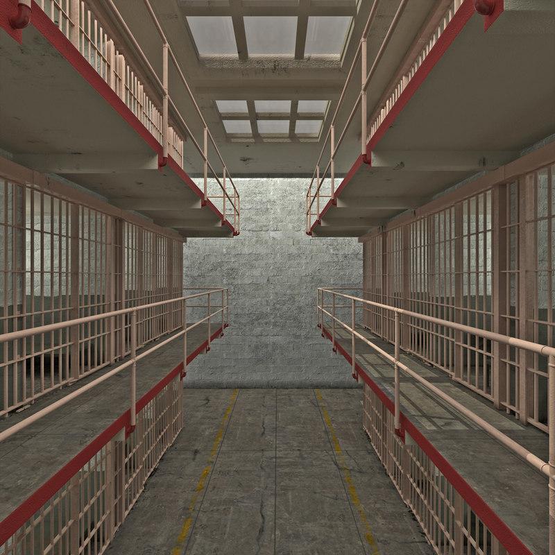3d prison cells alcatraz scene model