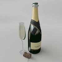 champagne set 3d model