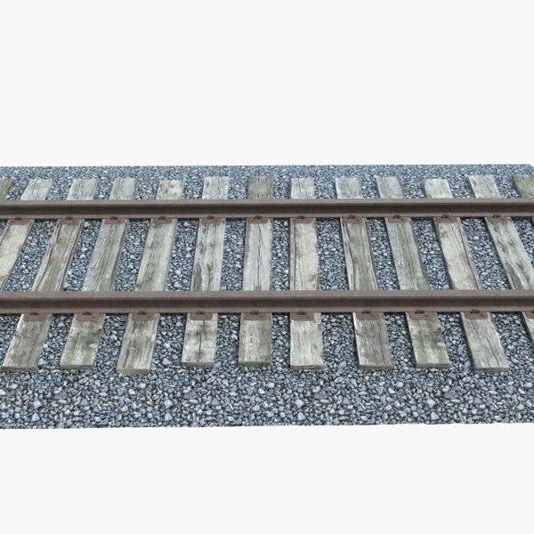 3d model railroad track gravel