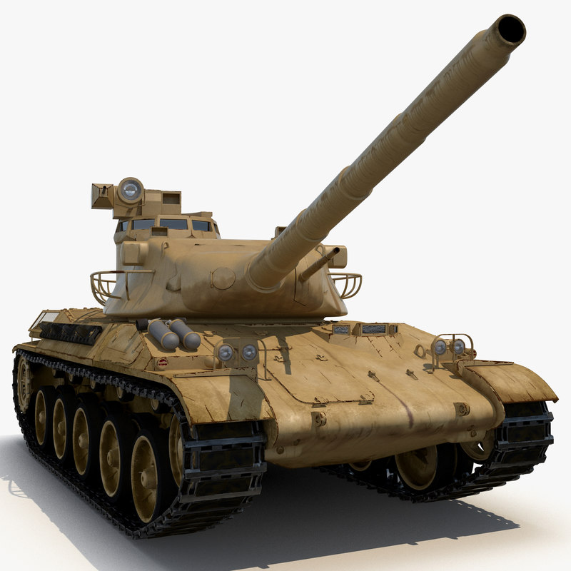 french tank amx-30 rigged 3d max
