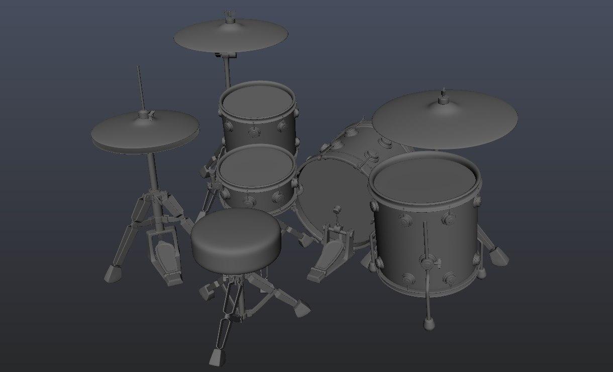 realistic drum obj