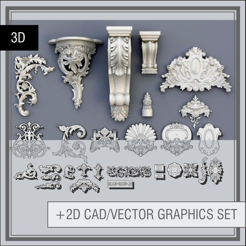 3d swag ornaments model