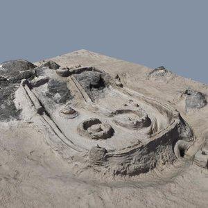 3d beach sand castle