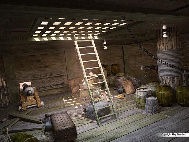 3d model battleship cabins pirates