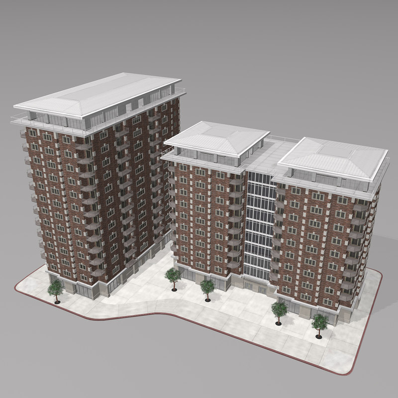 Modern Ping Apartment City Building Commercial Brick Design