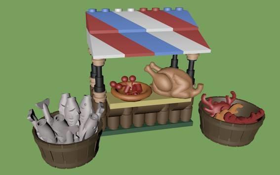 c4d lego market stall