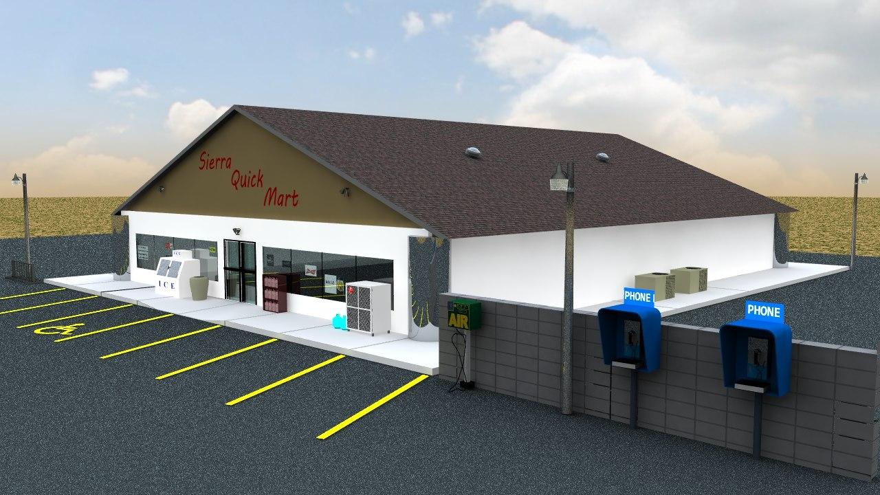 3d convenience store desert model
