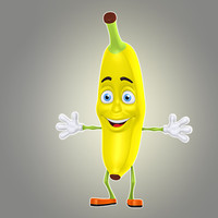 3d model cool cartoon banana