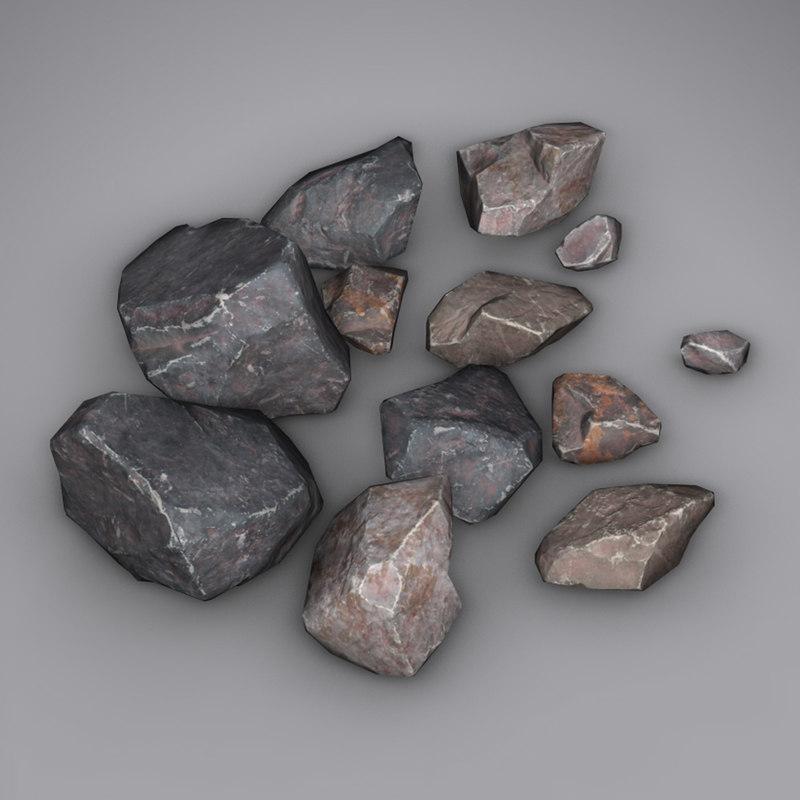 small rocks 3d obj