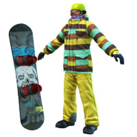 snowboard john 3d model
