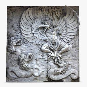 3d bas relief garuda bali
