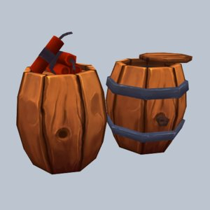 3d set dynamite barrel model