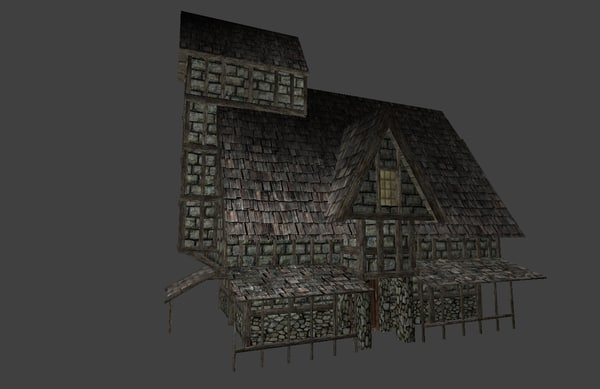 3d model of pack house medieval city