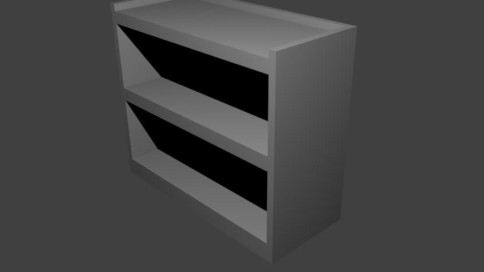 asset book shelf 3d model