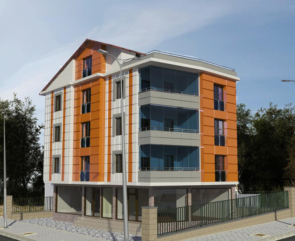 5 storey building 3d 3ds