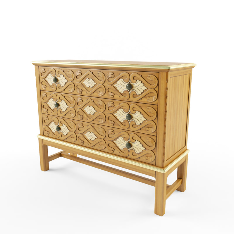 3d model v-ray drawer filigree
