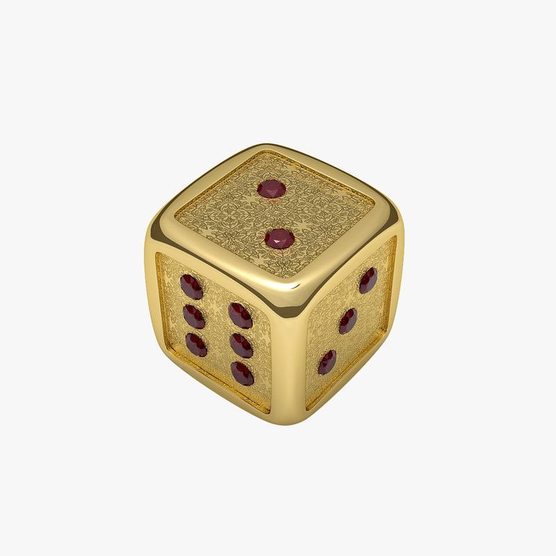 3d gold dice model