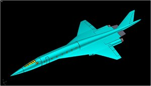 tu-444 supersonic business jet 3dm