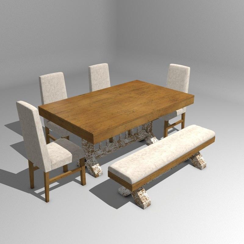 rustic dinner table 3d model