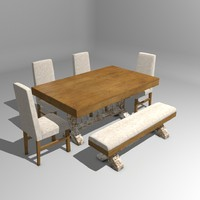rustic dinner table 3d model