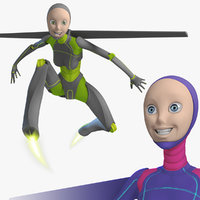 rigged female robot android 3d max